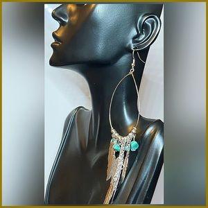 🏷 🆕 Tribal Dangle Earrings with Turquoise Stones